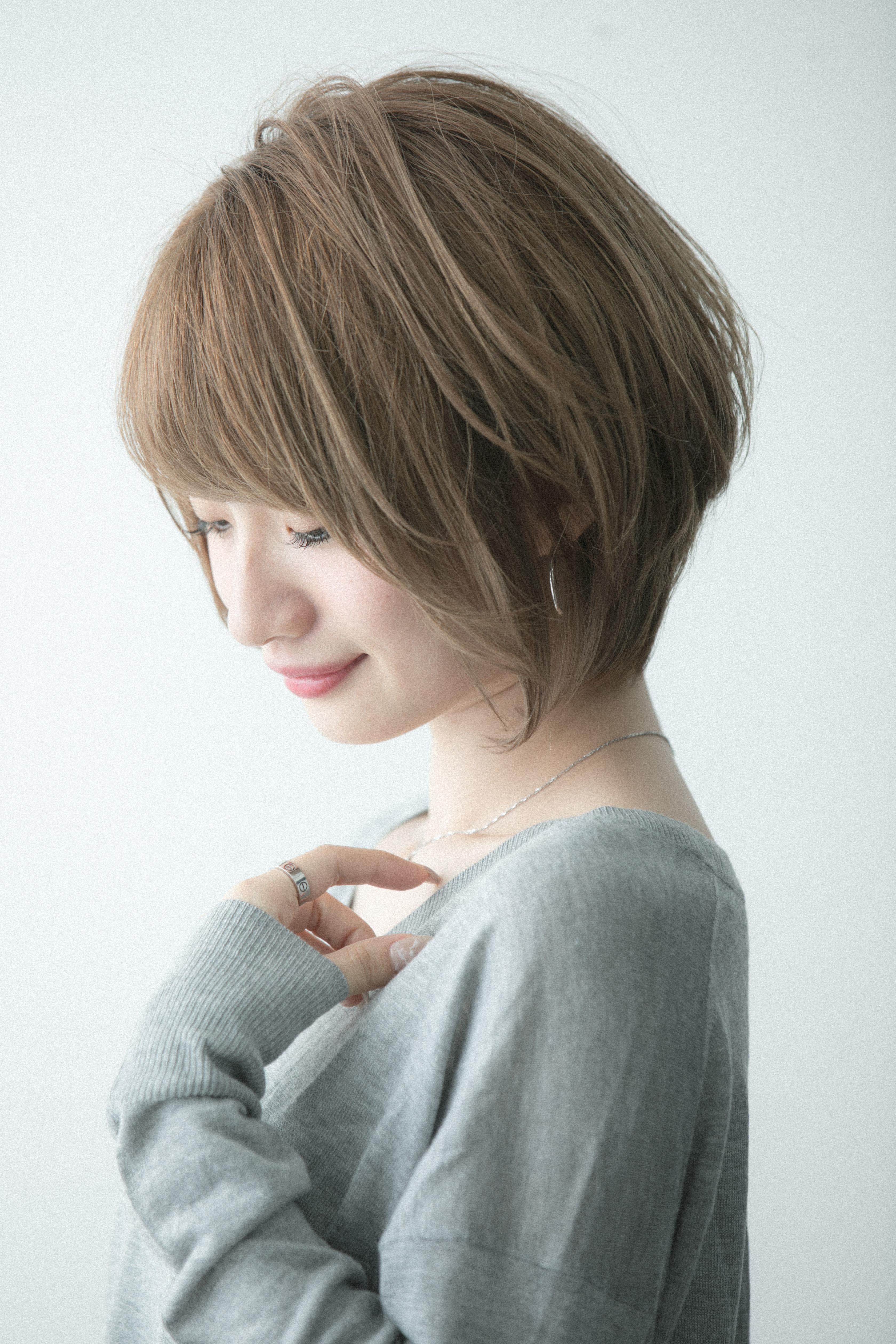 束感、透け感がおしゃれなショートボブ☆長谷川
