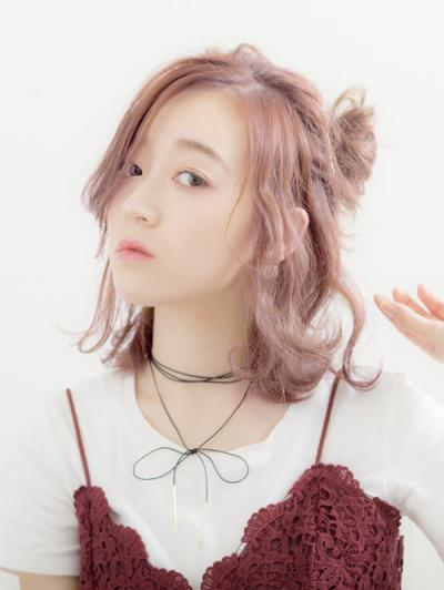 【Euphoria】ピンクカラー×メッシーバン★アレンジヘア