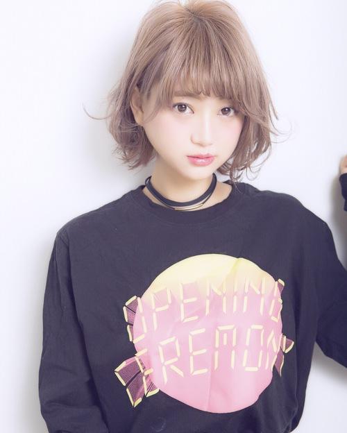 【Euphoria】フェアリーバングのピンクグレージュお洒落ボブ☆