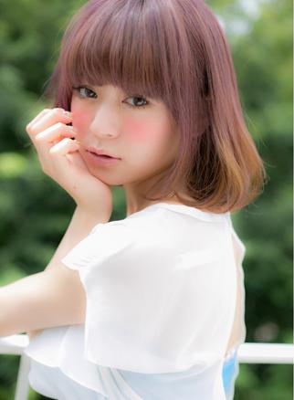 マーメイドアッシュ&pink☆前下がりボブ♪